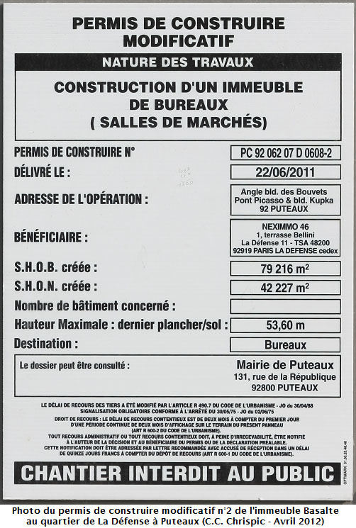 Chantier de l 39 immeuble basalte chrispics for Permis construire modificatif