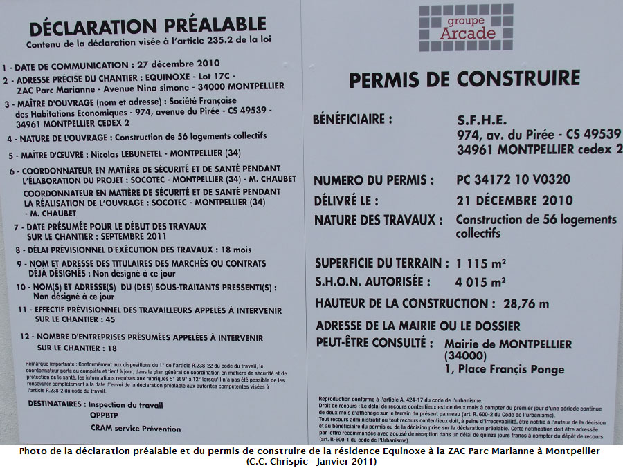 Chantier de la r sidence quinoxe chrispics for Permis construire modificatif